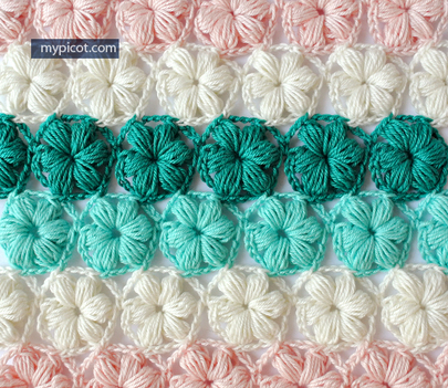 Tuesday's Tutorials- Crochet Puff Stitch Flower - My Picot @countrywillow12