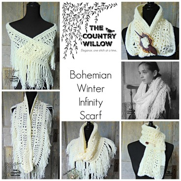 Free Crochet Pattern - Winter Bohemian Infinity Scarf- Part 1 @countrywillow12