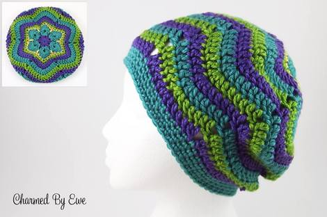 Monday's Find - Free Pattern Flower Ripple Slouch Hat @countrywillow12