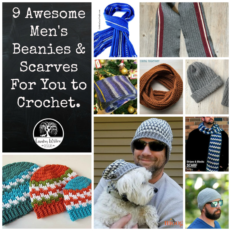 9 Awesome Men's Beanies and Scarves for you to crochet.