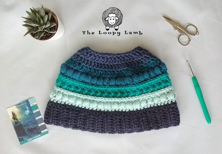 Polar Puff Messy Bun Hat from The Loopy Lamb